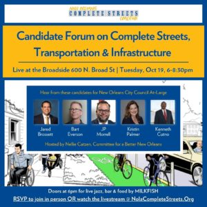 Come join us for the Candidate Forum on Complete Streets, Transportation & Infrastructure